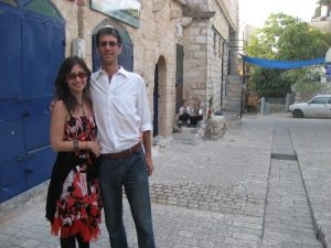 My husband and I on a visit to Tzfat, Israel